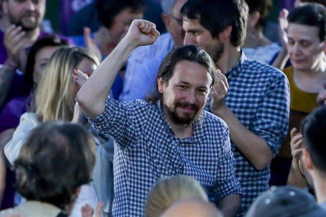 Acto de campaña de Podemos en la Plaza del 2 de Mayo en Madrid