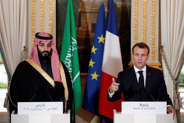 Emmanuel Macron y el príncipe heredero saudí
