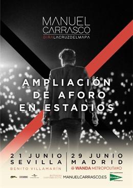 Sevilla.- Anuncian más entradas para el concierto de Manuel Carrasco del día 21 en el Villamarín tras ampliarse el aforo