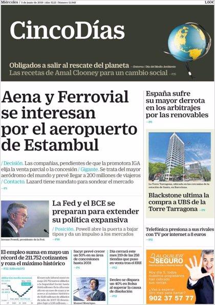 Las portadas de los periódicos económicos de hoy, miércoles 5 de junio