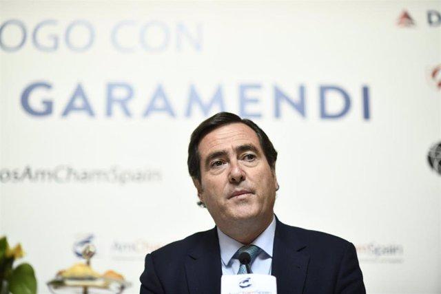 Diálogo entre el presidente de la CEOE, Antonio Garamendi y el de la Cámara de Comercio de EEUU en España (AmChamSpain), Jaime Malet
