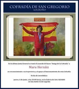 La Cofradía de San Gregorio nombra 'Amiga de La Cofradía' a la deportista Maru Hernáiz
