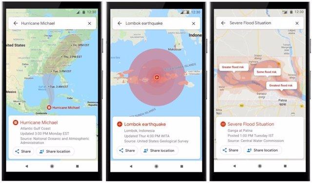 Las alertas de SOS de Google mostrarán información visual sobre desastres naturales