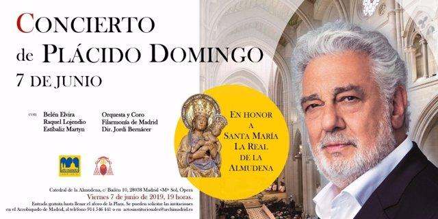 Plácido Domingo ofrecerá un concierto gratuito en la Catedral de la Almudena con motivo del Año Jubilar Mariano