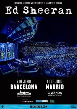 Ed Sheeran actuará en Barcelona y Madrid en junio de 2019