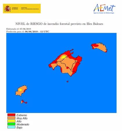 Baleares se encuentra este sábado en nivel extremo de riesgo de incendio, según la Aemet