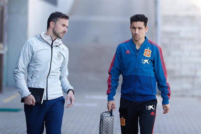 Jugadores de la Selección Española de Fútbol tras el entrenamiento en la Ciudad del Fútbol de las Rozas (Madrid)