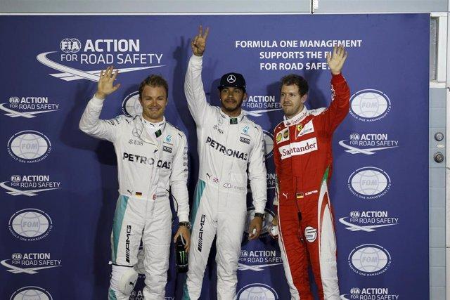 Hamilton, Rosberg y Vettel, los tres primeros de la parrilla del GP de Baréin