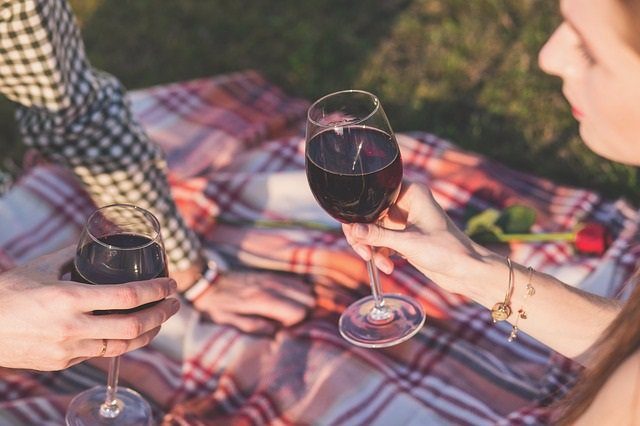 Bebiendo, alcohol, vino, copas, picnic