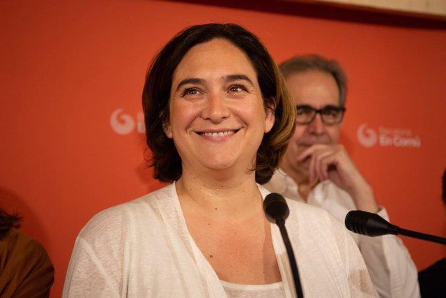 Roda de premsa de l'alcaldessa de Barcelona en funcions, Ada Colau, en Marina 131, Barcelona