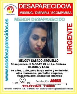 Sucesos.- Piden colaboración para localizar a una menor desaparecida desde hace seis días en La Bañeza (León)