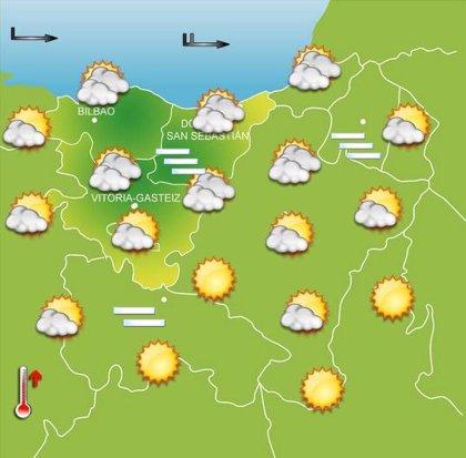 Jornada con frío a primeras horas, soleado durante la mañana y algún chubasco por la tarde este miércoles en Euskadi