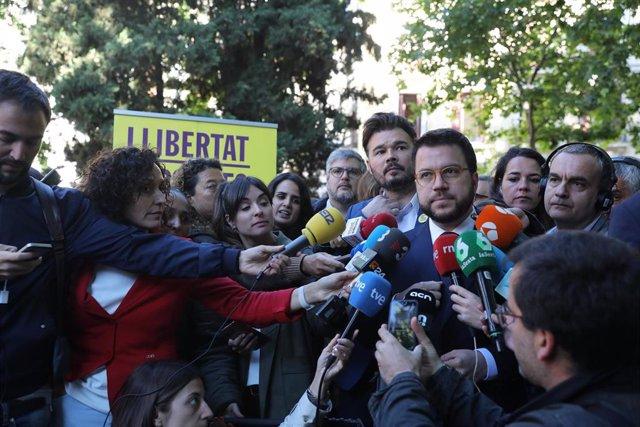 """Aragonès, sobre el acta de Junqueras: """"Lo mismo que vale para las Cortes debería valer para la Eurocámara"""""""