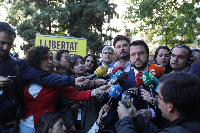 """Aragonès, sobre l'acta de Junqueras: """"El mateix que val per a les Corts hauria de valer per a l'Eurocambra"""""""