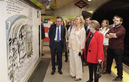 Ilustraciones y viñetas de Mingote decoran ya los andenes y pasillos de la estación de Metro Rubén Darío