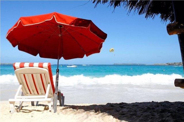 Caribe, playa, sombrilla, tumbona, tomar el sol