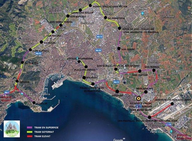 La plataforma Units per Conservar propone una ronda ferroviaria en Palma y reducir el parque automovilístico