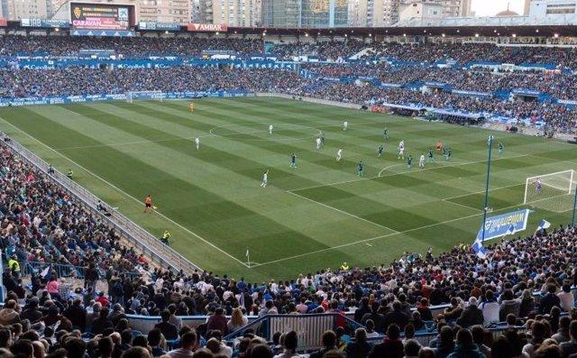Vista panorámica del estadio de La Romareda.