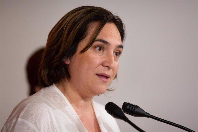 Rueda de prensa de la alcaldesa de Barcelona en funciones, Ada Colau, en Marina 131, Barcelona
