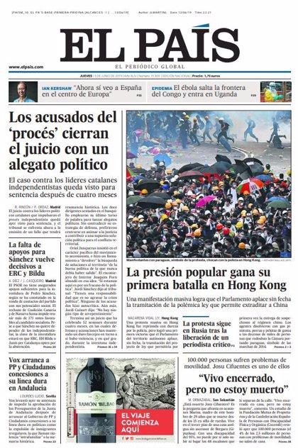 Las portadas de los periódicos del jueves 13 de junio de 2019