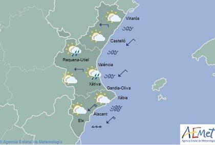 Lluvias débiles y temperaturas sin cambios este jueves en la Comunitat Valenciana