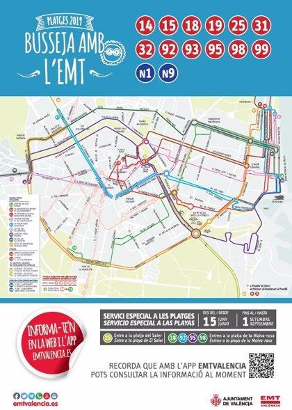 Un total de 12 líneas de la EMT de València refuerzan su servicio desde el sábado para atender la demanda en las playas