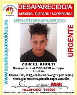 Buscan a un MENA de 13 años desaparecido en Lepe (Huelva) desde el pasado 7 de junio