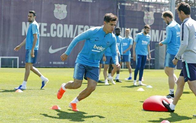 AMP.- Fútbol/Copa.- Coutinho regresa a los entrenamientos y el Barça confirma la baja de Ter Stegen para la final