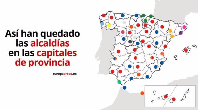 Constitución ayuntamientos 2019: así quedan las alcaldías de las capitales de provincia tras los pactos