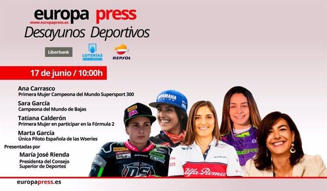 Fútbol. Ana Carrasco, Sara y Marta García y Tatiana Calderón en 'Motor,con M de mujer' en los Desayunos Deportivos de EP