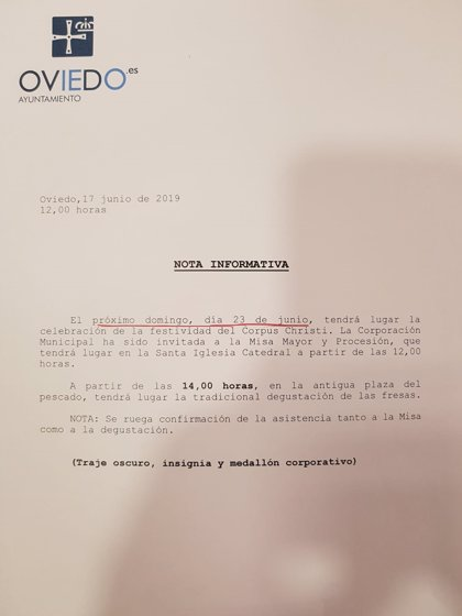El Ayuntamiento de Oviedo vuelve a invitar al Cabildo a las tradicionales fresas del Corpus después de tres años