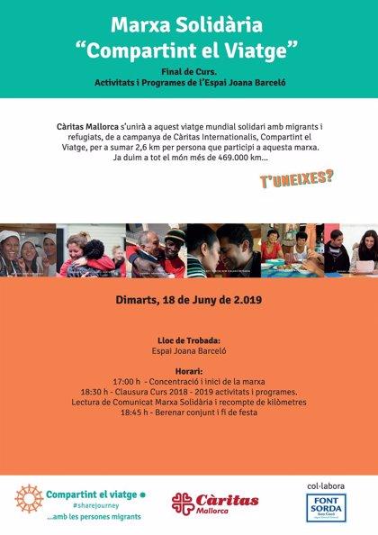 Cáritas Mallorca celebra este martes una marcha solidaria a favor de los derechos de migrantes y refugiados