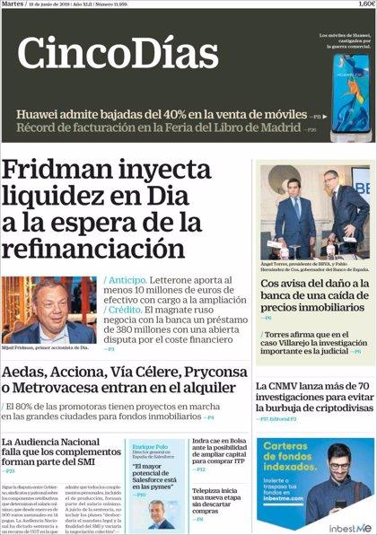 Las portadas de los periódicos económicos de hoy, martes 18 de junio