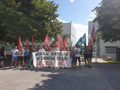 LAB, ELA y UGT convocan ocho días de huelga en artes gráficas de Gipuzkoa por el convenio