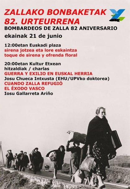 Zalla conmemorará el viernes el 82º aniversario de los bombardeos con un toque de sirena y una ofrenda floral