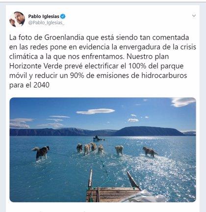 Iglesias exige medidas ante la envergadura de la crisis climática que refleja el deshielo de Groenlandia