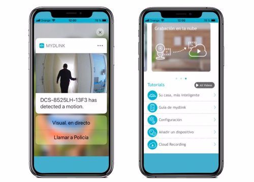 La 'app' mydlink añade las notificaciones emergentes al móvil con imagen y acceso a llamada de emergencia