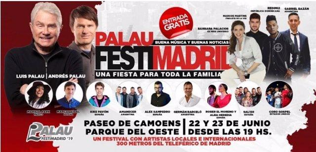 Cartel del Festival Conferencia de Luis Palau en Madrid en 2019