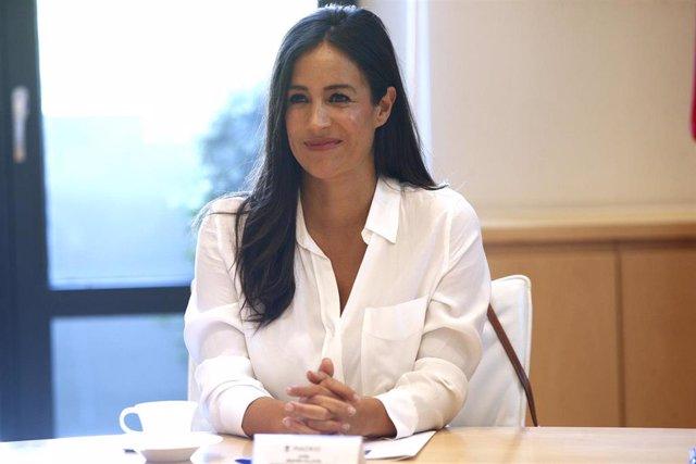 La vicealcaldesa de Madid, Begoña Villacís, durante la primera reunión de la Junta de Gobierno municipal de Madrid de su mandato.