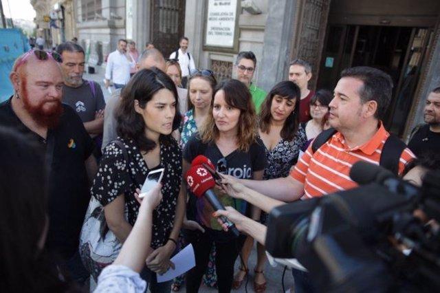 Isa Serra en declaraciones ante la Consejería de Medio Ambiente y Ordenación del Territorio, en calle Alcalá.