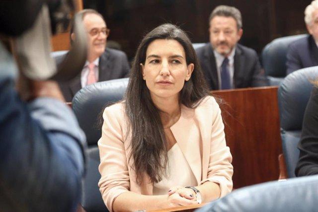 La candidata de VOX a la presidència de la Comunitat de Madrid, Rocío Monasterio, durant la sessió Constitutiva de la XI Legislatura de l'Assemblea de Madrid.