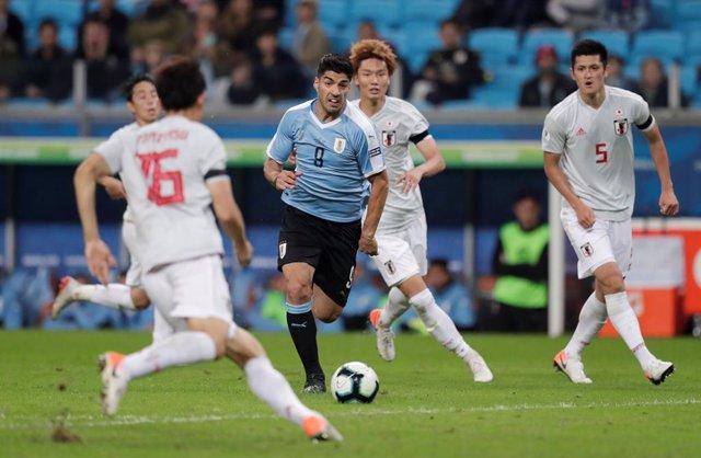 Luis Suárez en el Uruguay-Japón de la Copa América de Brasil 2019