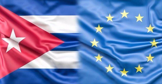 Bandera Cuba y UE