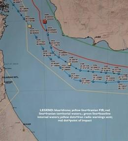 Trazado del dron estadounidense derribado por Irán