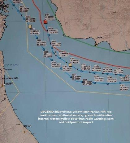 Irán publica la presunta ruta del dron estadounidense para demostrar que fue derribado en su territorio