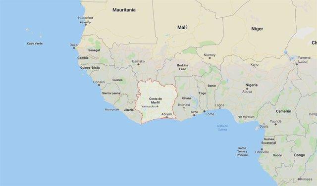 Situación de Costa de Marfil