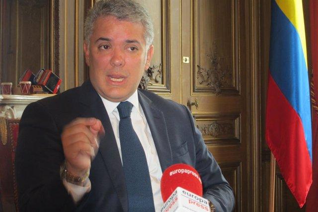 El presidente de Colombia, Iván Duque, en una entrevista con Europa Press