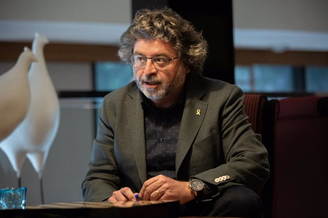 El portaveu de Demcrates de Catalunya, Antoni Castell, durant la seva entrevista amb Europa Press.