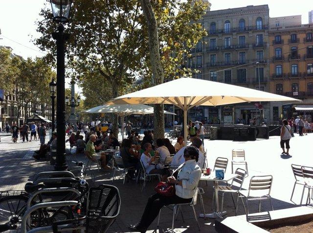 Terrassa a la plaça Catalunya de Barcelona