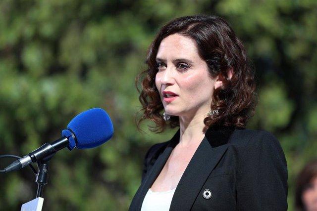 La candidata del Partido Popular a la presidencia de la Comunidad de Madrid, Isabel Diaz Ayuso, durante su intervención en la presentación de los candidatos del PP a la Asamblea de Madrid.
